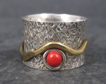 Vintage 90s Sterling Red Glass Fidget Spinner Worry Ring Size 6