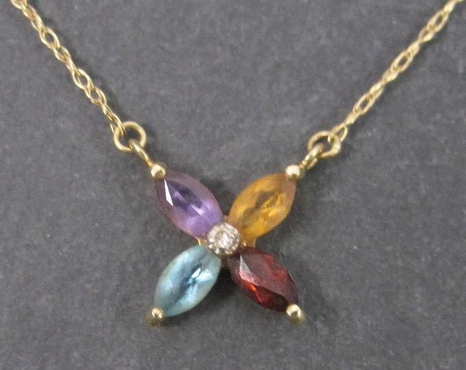 Vintage Mexican 14K Diamond Multi Gemstone Necklace