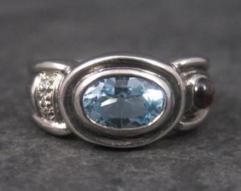 Vintage 90s Sterling Topaz Garnet Diamond Ring Size 5