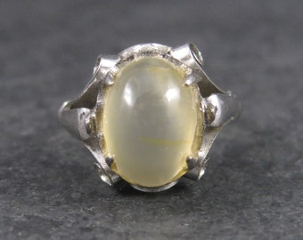 Antique Rutilated Quartz Ring Sterling Solitaire Size 5