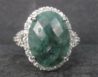 Vintage Sterling Raw Faceted Emerald Halo Ring Size 10