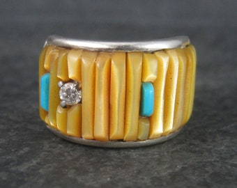 Vintage Yellow Mother of Pearl Turquoise Inlay Ring Size 6