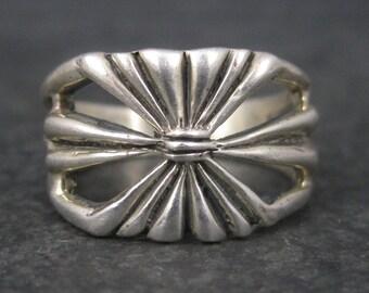 Vintage Mod Sterling Tribal Ring Size 7.5