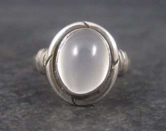 Vintage Sterling White Moonstone Ring Size 4.75