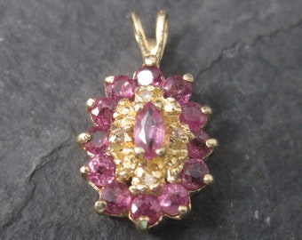 Small Vintage 14K Pink Sapphire Pendant