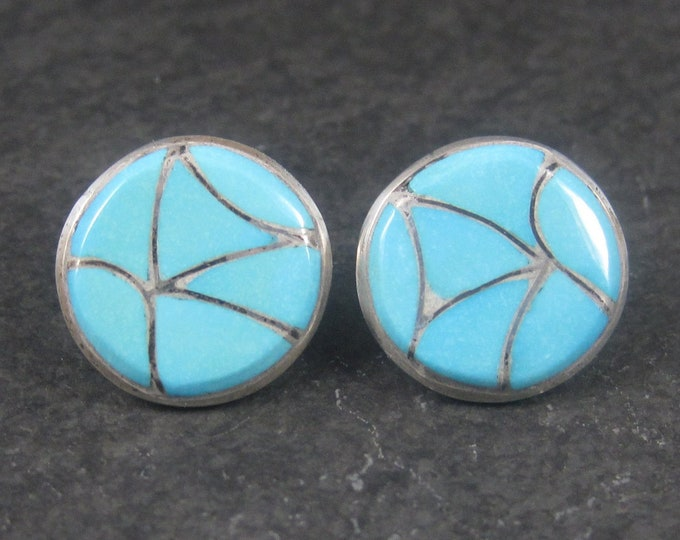 Vintage Navajo Sterling Turquoise Inlay Earrings Emma L Bonney