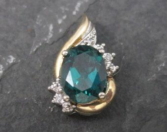 Small Vintage 10K Synthetic Emerald Diamond Pendant