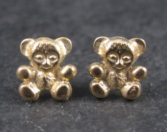 Vintage 14K Teddy Bear Earrings
