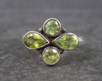 Vintage 90s Sterling Peridot Ring Size 7.75