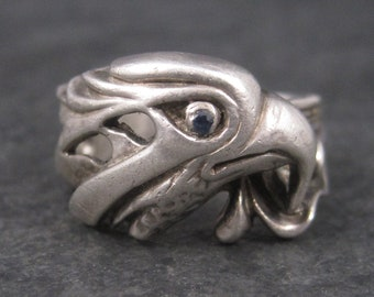 Vintage Sterling Sapphire Eagle Ring Size 10.75