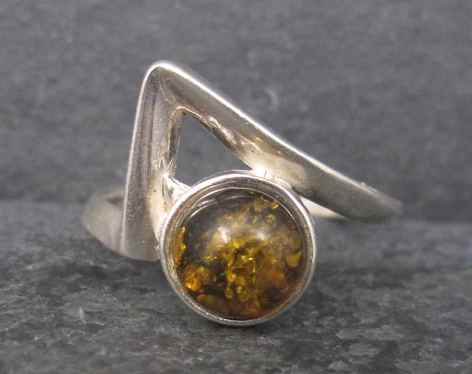 Vintage Modern Sterling Amber Ring Size 9.25