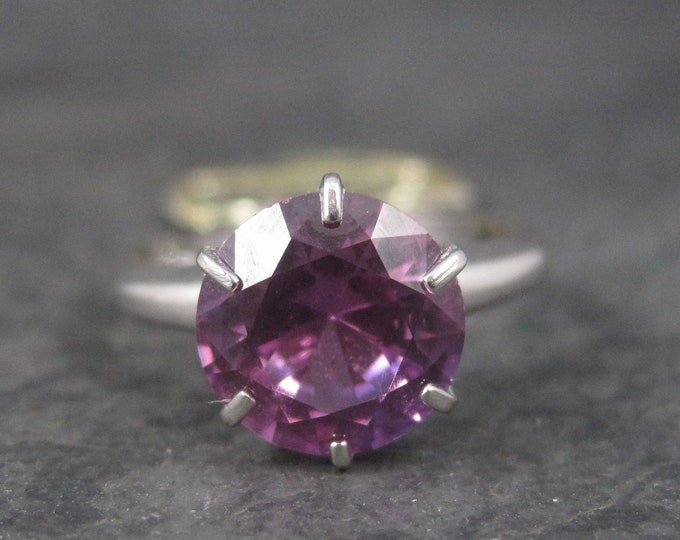 Vintage Sterling Amethyst Solitaire Ring Size 4.5 Old New Stock