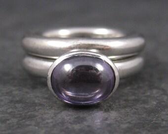 Vintage 90s Sterling Amethyst Wedding Ring Set Size 5.5