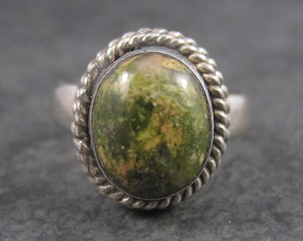 Vintage Sterling Oval Unakite Ring Size 6