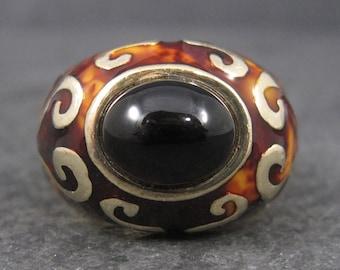 Vintage Flli Menegatti Vermeil Sterling Onyx Enamel Ring Size 10