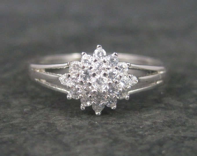 Dainty Sterling Cubic Zirconia Cluster Ring Size 8
