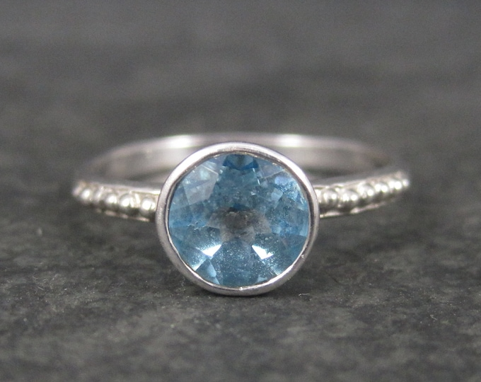Simple Sterling Topaz Solitaire Ring Size 9 Clyde Duneier