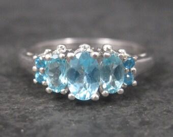 Vintage Sterling Blue Topaz Ring Size 8.25
