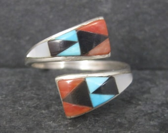Vintage Zuni Turquoise Coral Inlay Crossover Ring Cene Woobthee