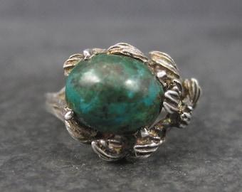 Unusual Vintage Sterling Chrysocolla Leaf Ring Size 5