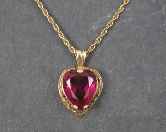 Antique 14K Synthetic Ruby Heart Pendant Necklace