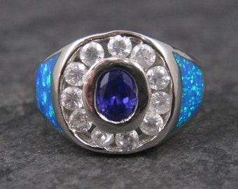 Vintage 90s Purple Crystal Blue Opal Halo Ring Sterling Size 8