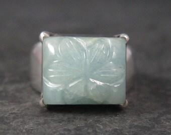 Vintage Carved Chrysoprase Flower Ring Sterling Size 6
