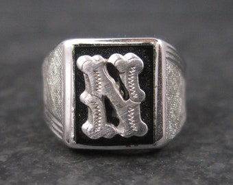 Boys Vintage Sterling Onyx Initial N Ring Size 4 New Old Stock