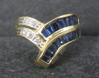 Vintage 14K Baguette Sapphire Diamond Crossover Ring Size 7.5