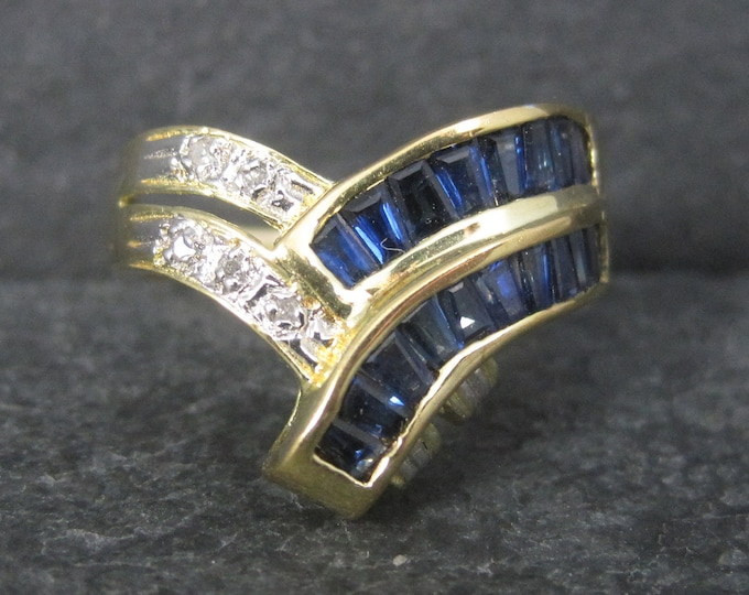 Featured listing image: Vintage 14K Baguette Sapphire Diamond Crossover Ring Size 7.5