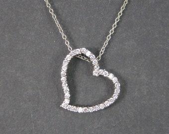 Vintage Sterling CZ Heart Pendant Necklace