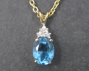 Dainty Vintage 14K Blue Topaz Diamond Pendant Necklace