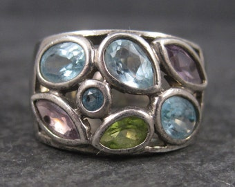 Vintage 90s Sterling 3.4 Ctw Topaz Amethyst Peridot Ring Size 8