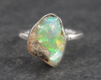 Vintage Sterling Raw Opal Ring Size 4.75