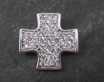 Retro Sterling Cz Maltese Cross Pendant