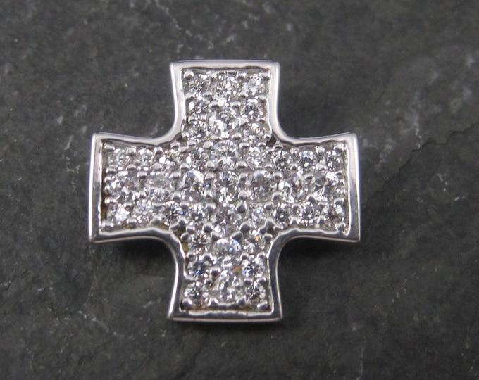 Retro Sterling Cz Maltese Cross Pendant