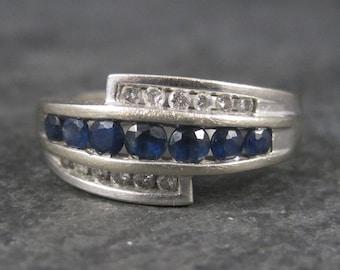 Vintage 10K White Gold Sapphire Diamond Ring Size 7