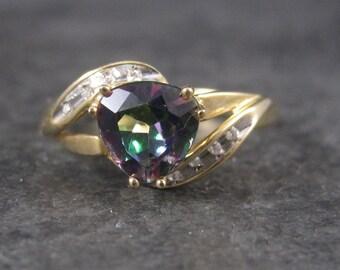 Vintage 10K Mystic Topaz Diamond Ring Size 7