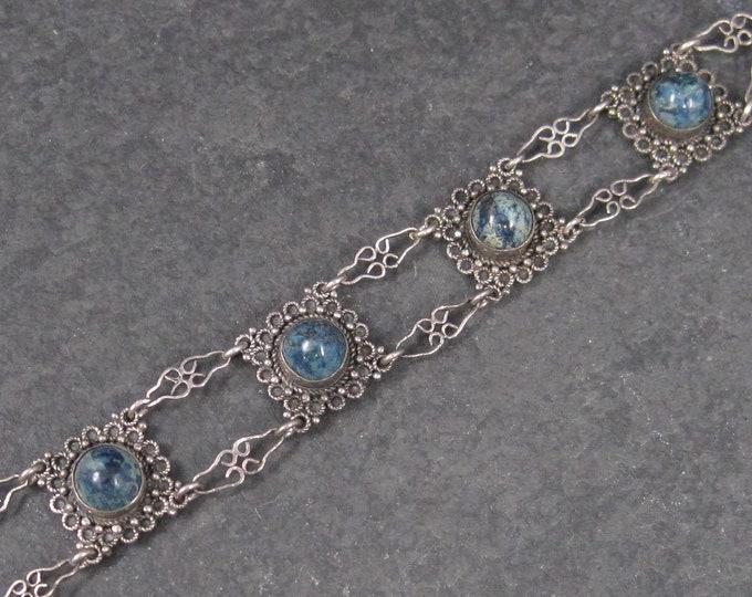 Featured listing image: Vintage Sterling Blue Art Glass Bracelet 7.75 Inches