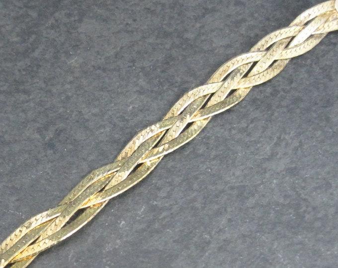 Vintage Vermeil Sterling Braided Herringbone Bracelet 7 Inches