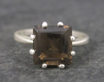Vintage Sterling Smoky Topaz Solitaire Ring Size 6.5