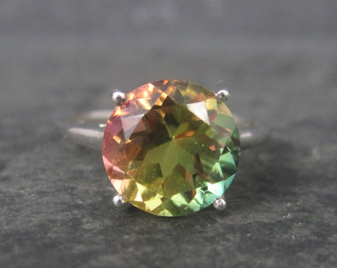 Sterling Tri Colored Pink Yellow Green Quartz Solitaire Ring Size 7
