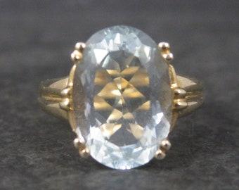 Vintage 10K Yellow Gold 4.75 Carat Aquamarine Ring Size 8