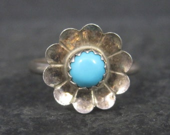Dainty Southwestern Sterling Turquoise Flower Ring Size 6
