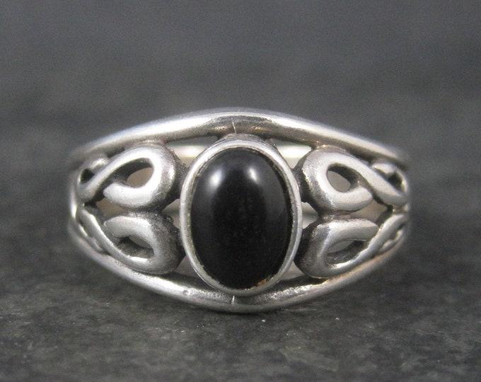 Vintage Sterling Celtic Onyx Ring Size 9