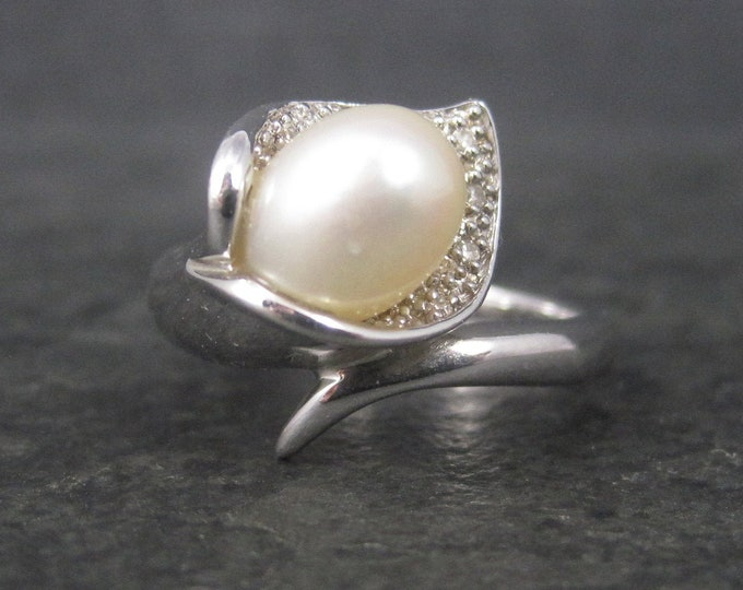 Vintage Sterling Diamond Pearl Lily Ring Size 6