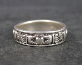 Vintage Sterling Claddagh Band Ring Size 6.5