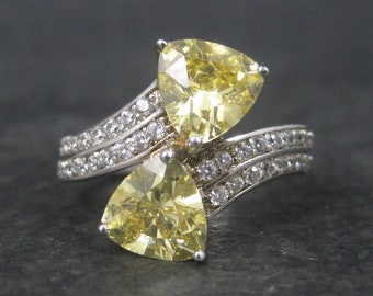 Vintage Sterling Yellow Cubic Zirconia Ring Size 9