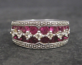 Vintage Sterling Ruby White Sapphire Ring Size 7