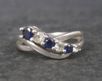 Vintage Sterling Blue and White Sapphire Ring Size 7.25